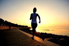 Healthy lifestyle beautiful asian woman running Stock Images
