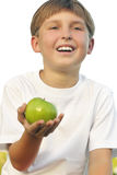 Healthy Lifestyle Boy with apple in his palm stock photography