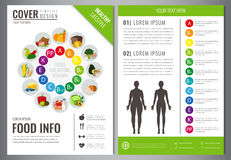 Healthy Lifestyle Brochure design template. Healthy eating concept. Food and drink. Vector. Royalty Free Stock Photos