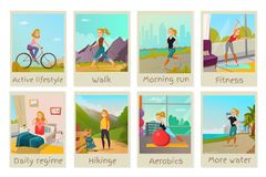 Healthy lifestyle cards set Royalty Free Stock Photo