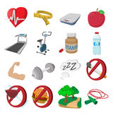 Healthy lifestyle cartoon icons Royalty Free Stock Photos
