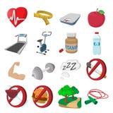 Healthy lifestyle cartoon icons Royalty Free Stock Photos
