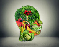 Healthy lifestyle choice. Healthy lifestyle choice concept. Fresh green vegetables and fruit shaped as human head face as symbol of good nutrition Royalty Free Stock Photos