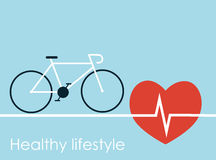 Healthy lifestyle, cicle and big red heart with cardiogram Royalty Free Stock Image