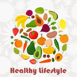 Healthy Lifestyle- circle made of fruits and vegetables. EPS10 Royalty Free Stock Photo