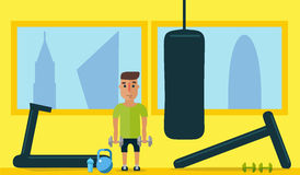Healthy lifestyle. Classes at the gym. Flat style. Man training in the gym with dumbbells. Flat style stock illustration