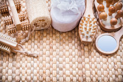 Healthy lifestyle collection of objects on wicker Stock Images