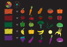 Healthy Lifestyle 5 colors of fruit and vegetables ,Vector illustrations royalty free illustration
