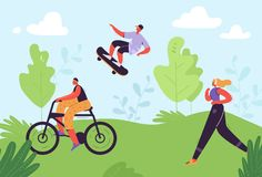 Healthy Lifestyle Concept. Active People Exercising in Park. Woman Running, Girl Riding Bicycle, Man Skateboarding stock illustration