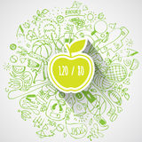 Healthy lifestyle concept with apple and doodles Stock Photos