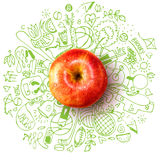 Healthy lifestyle concept with apple and doodles Stock Images