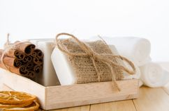 The healthy lifestyle concept with aromatic soaps stock image