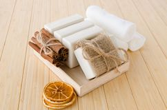 The healthy lifestyle concept with aromatic soaps Royalty Free Stock Images