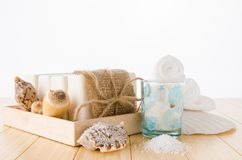 The healthy lifestyle concept with aromatic soaps royalty free stock photography