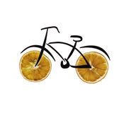 Healthy lifestyle concept - bike with orange wheel Royalty Free Stock Photography