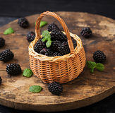 Healthy lifestyle concept, blackberries in basket. Summer berry on table. Healthy lifestyle concept, blackberries in basket Royalty Free Stock Photos