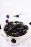 Healthy lifestyle concept, blackberries in bowl. Summer berry on table. Healthy lifestyle concept, blackberries in bowl Stock Photos