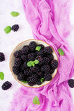 Healthy lifestyle concept, blackberries in bowl. Summer berry on table. Healthy lifestyle concept, blackberries in bowl. Flat lay. Top view Stock Photo