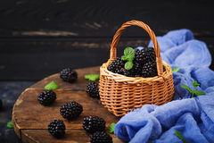 Healthy lifestyle concept, blackberries. Summer berry on table. Healthy lifestyle concept, blackberries in basket Stock Images
