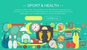 Healthy lifestyle concept with food and sport icons. Sport and fitness flat concept infographics template header design Stock Photo