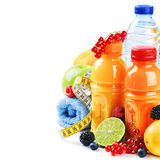 Healthy lifestyle concept. Fresh fruits and juices Stock Photo
