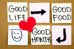 healthy lifestyle concept - good food, health and life - reminder words handwritten of sticky notes with red heart