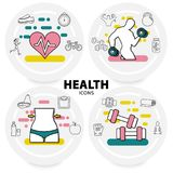 Healthy Lifestyle Concept. With heart athletes sport equipment apple avocado vitamins scales sneakers bicycle line icons isolated vector illustration Stock Image