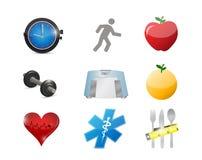 Healthy lifestyle concept icon set illustration Royalty Free Stock Photos