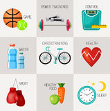 Healthy lifestyle concept icons set Royalty Free Stock Photography