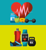 Healthy lifestyle concept icons royalty free illustration