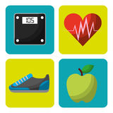 Healthy lifestyle concept icons. Vector illustration design Stock Photos