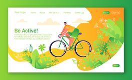 Healthy lifestyle concept for mobile website, web page. Bicycle riding man. Park with trees and plantrs on background. Flat, cartoon, trendy, vector royalty free illustration