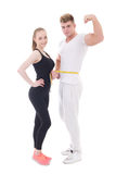 Healthy lifestyle concept - muscular man and slim woman isolated stock photos