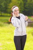 Healthy Lifestyle Concept: Portrait of Beautiful Sportive Woman Royalty Free Stock Images