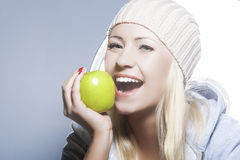Healthy Lifestyle Concept. Portrait of Smiling Caucasian Woman W Royalty Free Stock Photo