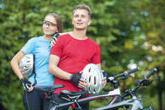 Healthy Lifestyle Concept: Portrait of Young Caucasian Couple of Stock Photography