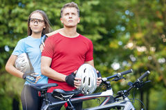 Healthy Lifestyle Concept: Portrait of Young Caucasian Couple of Royalty Free Stock Photo