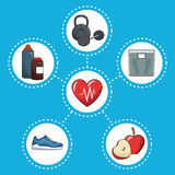 Healthy lifestyle concept sport icons Stock Images