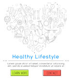 Healthy lifestyle concept. Vector banner of icons for your web design. Banner includes icons of healthy food and sport. Healthy lifestyle concept Royalty Free Stock Images