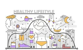 Healthy lifestyle concept vector illustration in flat linear style. Healthy lifestyle concept vector illustration. Modern thin line flat design element with Royalty Free Stock Image