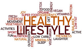 Healthy Lifestyle Concept Word Cloud. A Wordcloud showing many Tags of a Topic Stock Photos