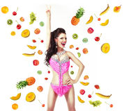 Healthy Lifestyle & Diet Concept. Woman with Mix of Juicy Fresh Fruit Royalty Free Stock Photos