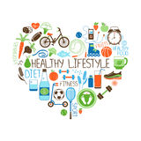 Healthy Lifestyle  Diet and Fitness Heart sign Royalty Free Stock Photos