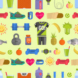 Healthy lifestyle diet icons and sport sneakers lifestyle fitnes seamless pattern background vector illustration Royalty Free Stock Photography