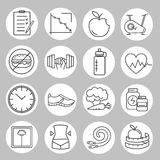 Healthy lifestyle and diet of modern linear icons. Stock Photography