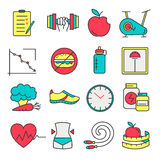 Healthy lifestyle and diet of modern linear icons. Royalty Free Stock Image