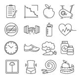 Healthy lifestyle and diet of modern linear icons. Royalty Free Stock Photography