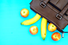 Healthy Lifestyle Diet Nutrition Concept Top View of banana and Stock Photography