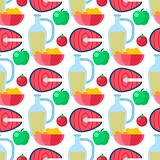 Healthy lifestyle diet porridge cerreal apple vegetables seamless pattern background vector illustration. Funny fish sea food marine lifewith tuna wrapping art Stock Image