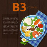 Healthy lifestyle and diet. Set of vitamin B3 and useful products: fish, carrot, tomato, egg, parsley, cheese, white mushroom, potato, broccoli, beans, seeds Royalty Free Stock Images